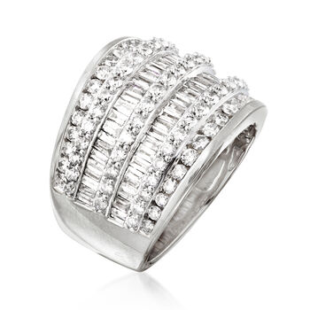 3.00 ct. t.w. Diamond Multi-Row Ring in Sterling Silver. Size 6