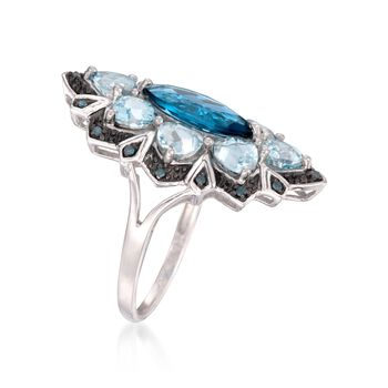 2.20 Carat London Blue Topaz and 2.50 ct. t.w. Aquamarine Ring with Blue Diamonds in Sterling Silver, , default