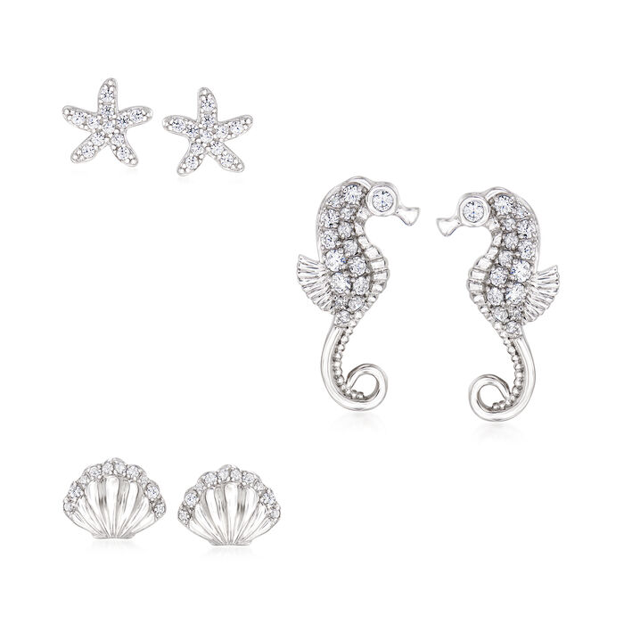 .85 ct. t.w. CZ Jewelry Set: Three Pairs of Sea Life Earrings in Sterling Silver