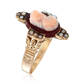 C. 1920 Vintage 1.5mm Cultured Pearl and Agate Cameo Ring in 14kt Yellow Gold. Size 6.5, , default