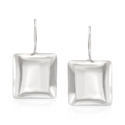 Italian Sterling Silver Square Drop Earrings