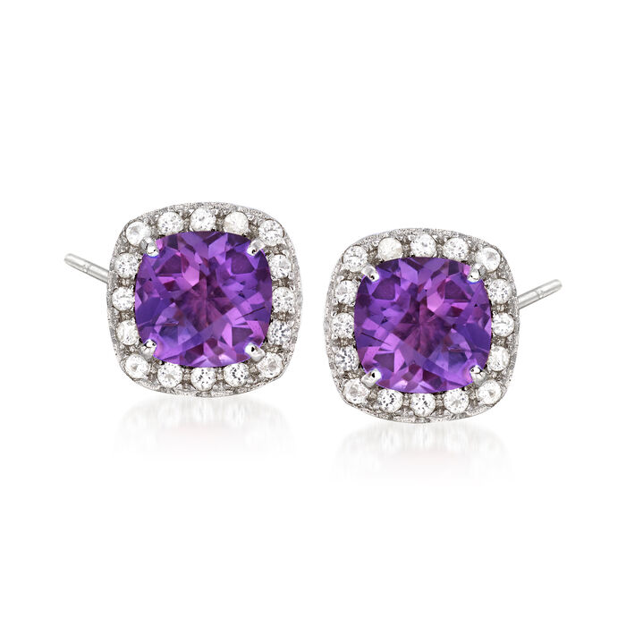 .10 ct. t.w. Amethyst and .10 ct. t.w. White Topaz Stud Earrings in Sterling Silver, , default