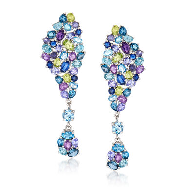 12.20 ct. t.w. Multi-Gemstone Drop Earrings in Sterling Silver