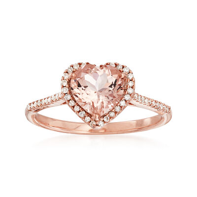1.00 ct. t.w. Pink Morganite and .15 ct. t.w. Diamond Heart Ring in 14kt Rose Gold