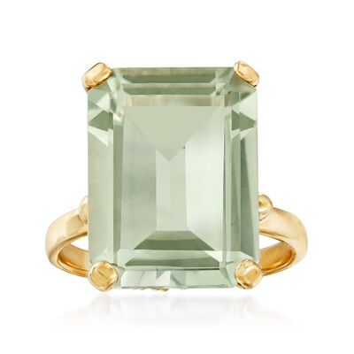 9.00 Carat Green Prasiolite Ring in 14kt Yellow Gold, , default