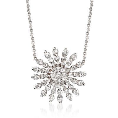 Roberto Coin .70 ct. t.w. Diamond Sunburst Necklace in 18kt White Gold, , default