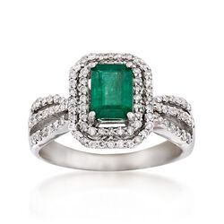 1.00 Carat Emerald and .54 ct. t.w. Diamond Ring in 14kt White Gold, , default