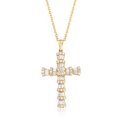 .97 ct. t.w. Round and Baguette Diamond Cross Necklace in 14kt Yellow Gold, , default