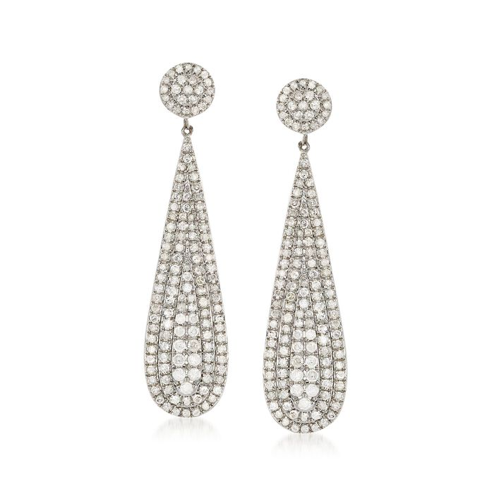 2.28 ct. t.w. Diamond Teardrop Earrings in Sterling Silver , , default
