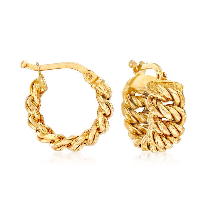 "Italian 18kt Yellow Gold Americana-Link Huggie Hoop Earrings. 5/8"", , default"