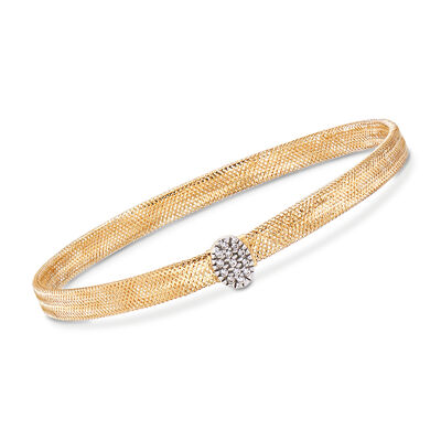 Italian 18kt Yellow Gold Mesh Bracelet With .10 ct. t.w. CZ Oval Station, , default