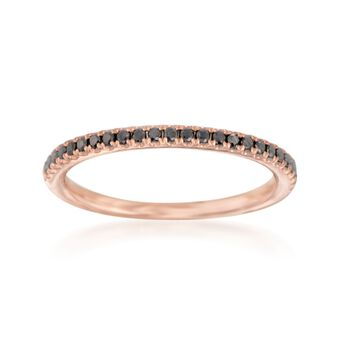 Henri Daussi .15 ct. t.w. Black Diamond Wedding Ring in 14kt Rose Gold, , default