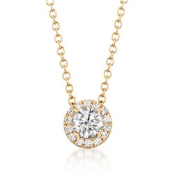 .32 ct. t.w. CZ Halo Necklace in 14kt Yellow Gold, , default