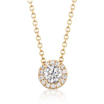 """.32 ct. t.w. CZ Halo Necklace in 14kt Yellow Gold. 18"""", , default"""