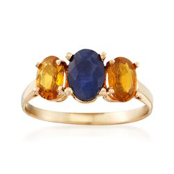 C. 1990 Vintage 1.80 ct. t.w. Blue and Orange Sapphire Three-Stone Ring in 14kt Yellow Gold. Size 6, , default