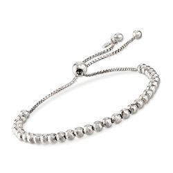 Italian 4mm Sterling Silver Bead Bolo Bracelet, , default