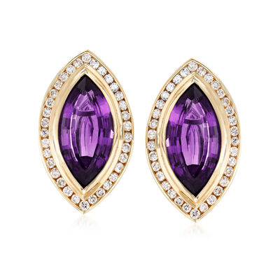 C. 1980 Vintage 8.40 ct. t.w. Amethyst and 1.30 ct. t.w. Diamond Earrings in 14kt Yellow Gold, , default