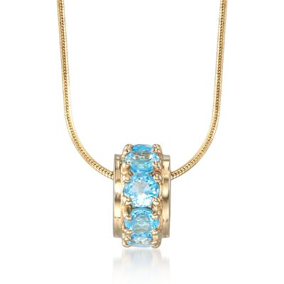 .90 ct. t.w. Blue Topaz Rondelle Bead Pendant in 14kt Yellow Gold , , default