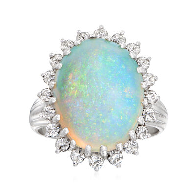 C. 1980 Vintage Opal and .60 ct. t.w. Diamond Ring in 14kt White Gold