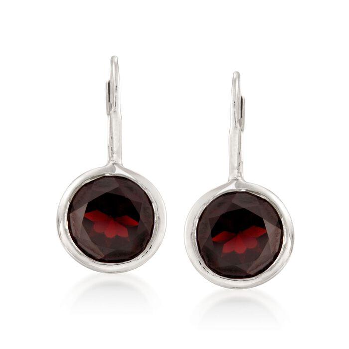 11.00 ct. t.w. Bezel-Set Garnet Earrings in Sterling Silver