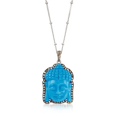 Synthetic Turquoise and .67 ct. t.w. Champagne Diamond Buddha Pendant Necklace in Sterling Silver, , default