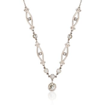 "C. 1990 Vintage .51 ct. t.w. Old European Cut Diamond Necklace in Platinum. 18"", , default"