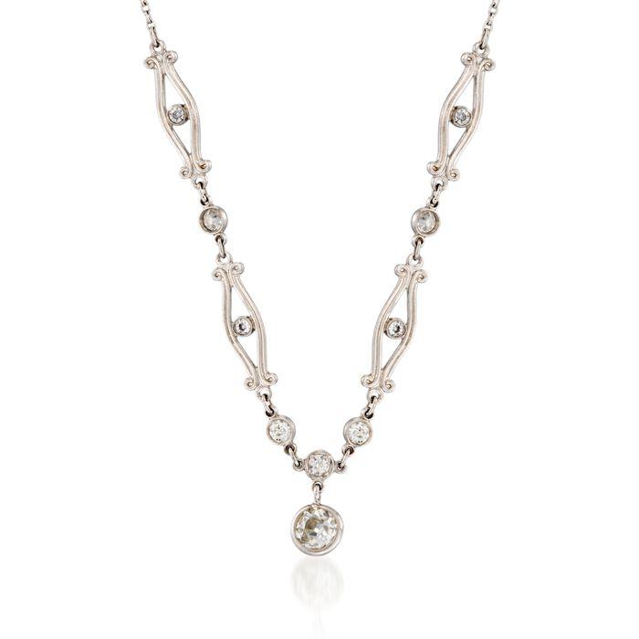 "C. 1990 Vintage .51 ct. t.w. Old European Cut Diamond Necklace in Platinum. 18"", , default"