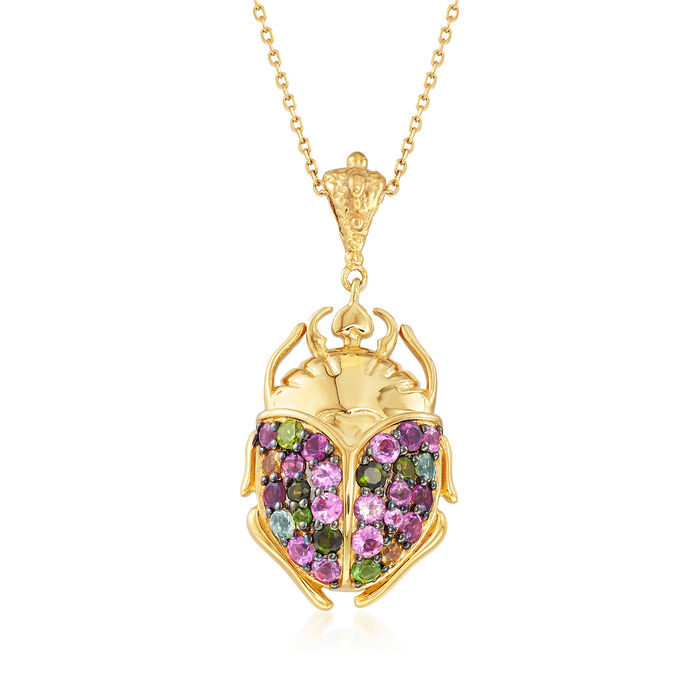 2.47 ct. t.w. Multicolored Tourmaline Scarab Pendant Necklace in 18kt Gold Over Sterling