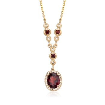 """2.75 ct. t.w. Garnet and .30 ct. t.w. Diamond Necklace in 14kt Yellow Gold. 16"""", , default"""