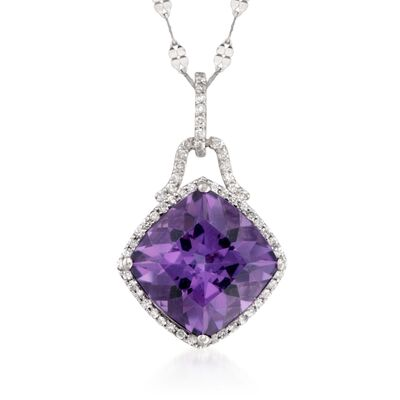 6.75 Carat Amethyst and .30 ct. t.w. Diamond Pendant Necklace in 14kt White Gold, , default