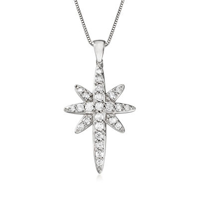 1.00 ct. t.w. Diamond Starburst Cross Pendant Necklace in Sterling Silver