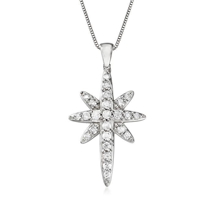 1.00 ct. t.w. Diamond Starburst Cross Pendant Necklace in Sterling Silver