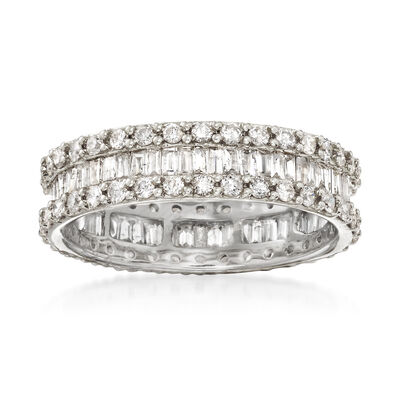 1.50 ct. t.w. Brilliant and Baguette-Cut Diamond Eternity Band in 14kt White Gold with Rhodium, , default