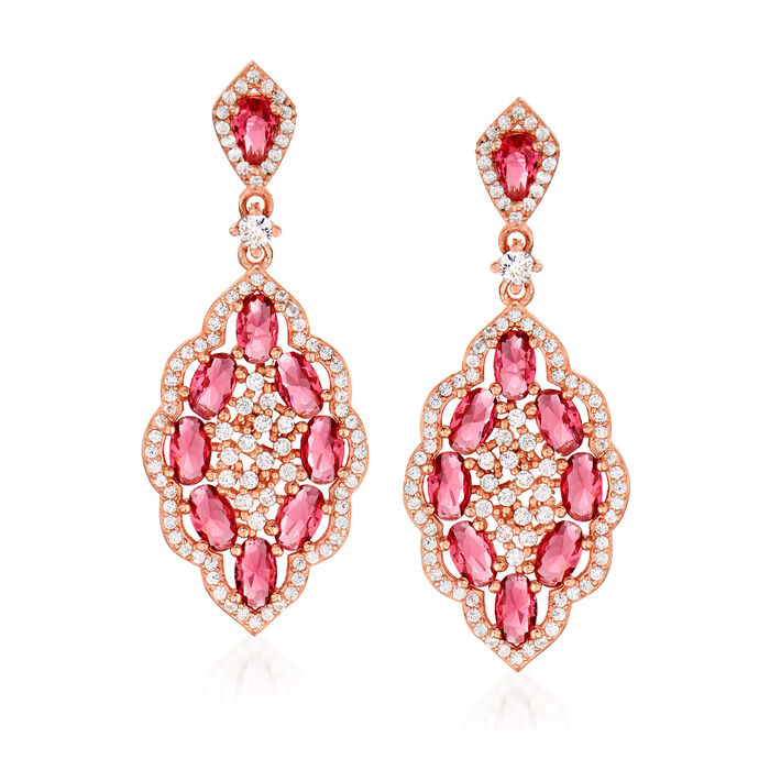 6.55 ct. t.w. Pink and White CZ Drop Earrings in 18kt Rose Gold Over Sterling
