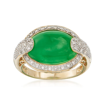 Green Jade and .13 ct. t.w. Diamond Ring in 14kt Yellow Gold, , default
