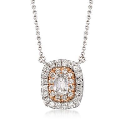 Henri Daussi .56 ct. t.w. Diamond Halo Necklace in 18kt Two-Tone Gold, , default