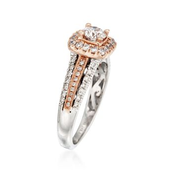 .95 ct. t.w. Diamond Halo Ring in 14kt Two-Tone Gold , , default
