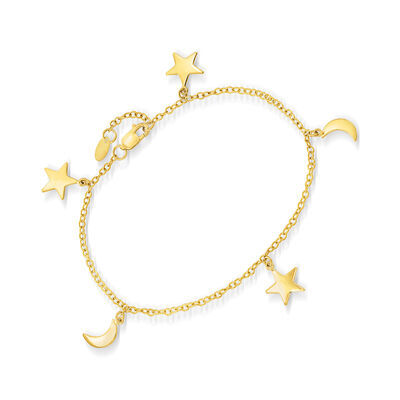 14kt Yellow Gold Moon and Star Charm Bracelet
