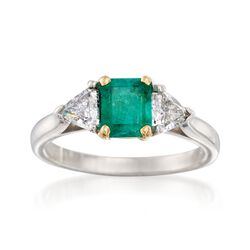 C. 1990 Vintage .94 Carat Emerald and .70 ct. t.w. Diamond Ring in Platinum and 18kt Gold. Size 6.5, , default