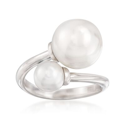 6-10mm Shell Pearl Bypass Ring in Sterling Silver, , default