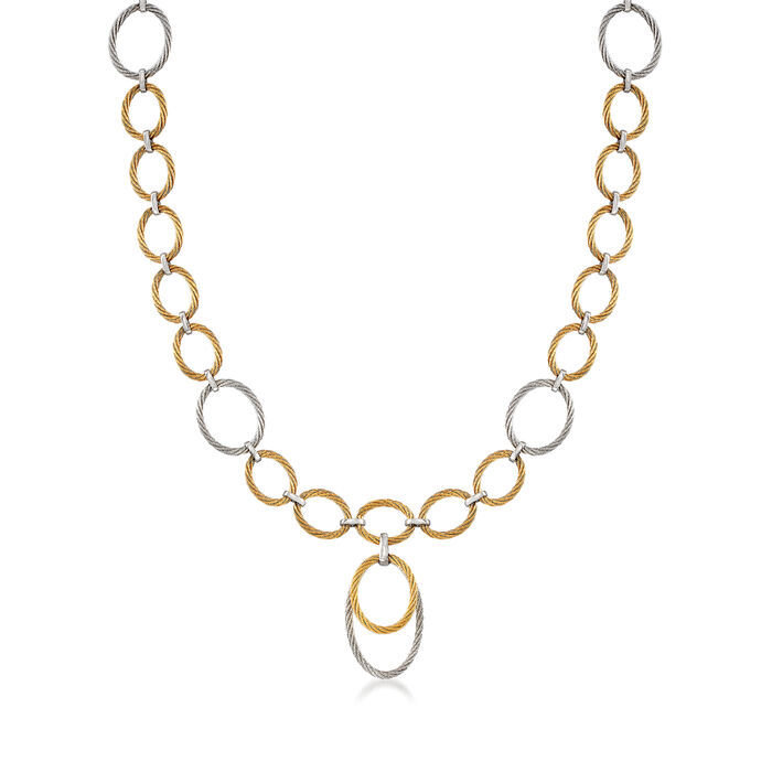 "ALOR ""Classique"" Two-Tone Stainless Steel Cable Multi-Link Necklace. 17.5"""