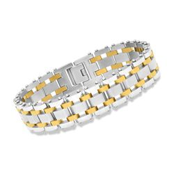 "Men's Two-Tone Stainless Steel Railroad-Link Bracelet. 8.5"", , default"