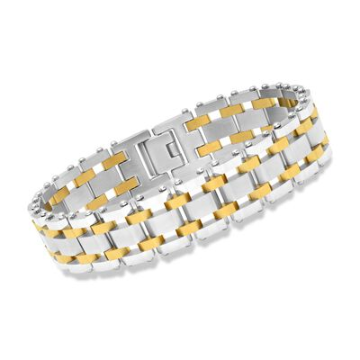 Men's Two-Tone Stainless Steel Railroad-Link Bracelet, , default