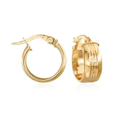 Italian Greek Key Huggie Hoop Earrings in 14kt Yellow Gold, , default