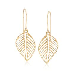 Italian 14kt Yellow Gold Openwork Leaf Drop Earrings, , default
