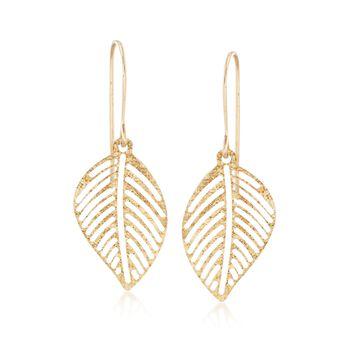 Italian 14kt Yellow Gold Openwork Leaf Drop Earrings , , default
