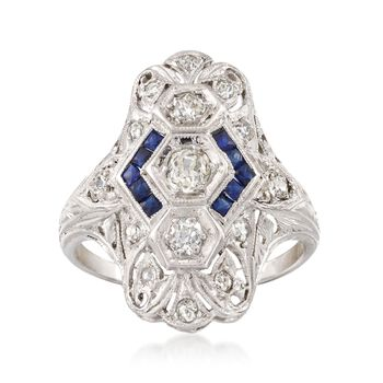 C. 1935 Vintage .55 ct. t.w. Diamond and .30 ct. t.w. Synthetic Sapphire Dinner Ring in Platinum. Size 7, , default