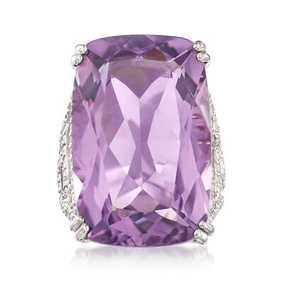 30.00 Carat Amethyst and 1.20 ct. t.w. White Zircon Geometric Ring in Sterling Silver, , default