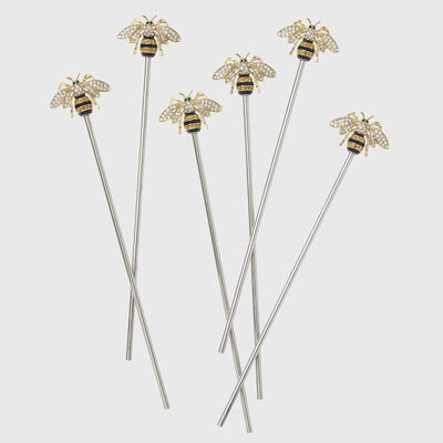 Joanna Buchanan Set of 6 Stripey Bee Swizzle Sticks, , default