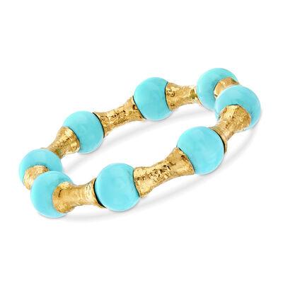 Italian 14mm Simulated Turquoise Hammered Link Bracelet in 18kt Gold Over Sterling, , default